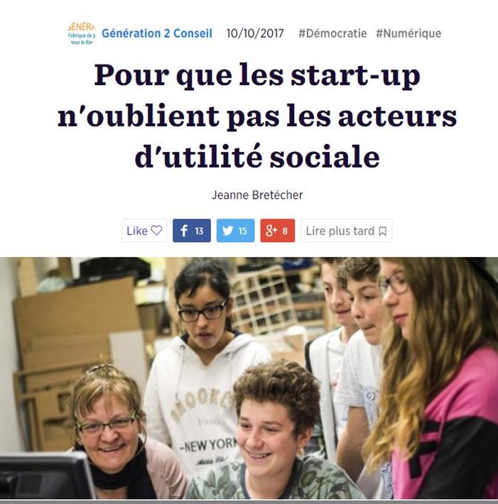 Pour que les start-up n'oublient pas les acteurs d'utilité sociale
